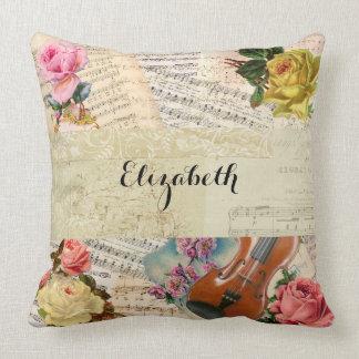 Vintage Musik-Blätter und Blumenanordnung Kissen