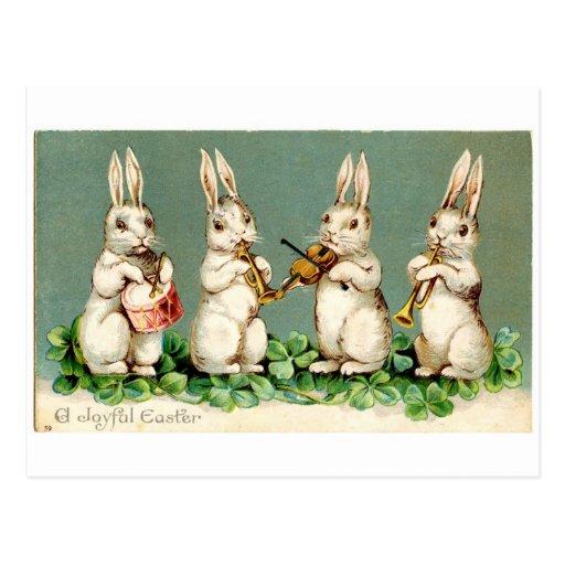 Vintage musikalische Häschen Postkarte