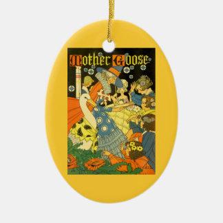 Vintage Mutter-Gans-Lesebücher zu den Kindern Ovales Keramik Ornament