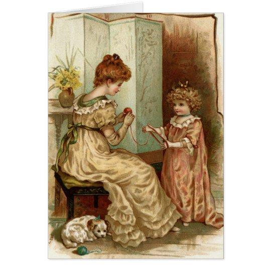 Vintage Mutter und Kind Mitteilungskarte
