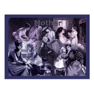 Vintage Mütter und Kindercollage Postkarte
