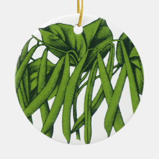 Vintage Nahrung, Bio grüne Bohnen-Gemüse Keramik Ornament