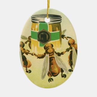 Vintage Nahrung, Bio Honig-Bienen, die Glas tanzen Ovales Keramik Ornament