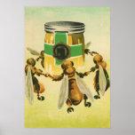 Vintage Nahrung, Bio Honig-Bienen, die Glas tanzen Poster