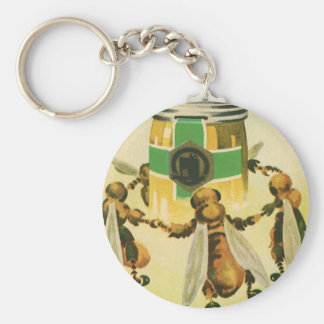 Vintage Nahrung, Bio Honig-Bienen, die Glas tanzen Schlüsselanhänger