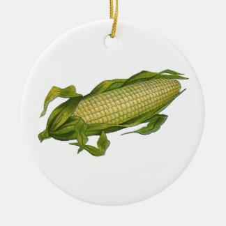 Vintage Nahrung, gesundes Gemüse, Maiskörner Rundes Keramik Ornament