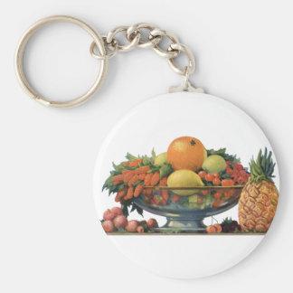Vintage Nahrung, sortierte Frucht in einer Schlüsselanhänger