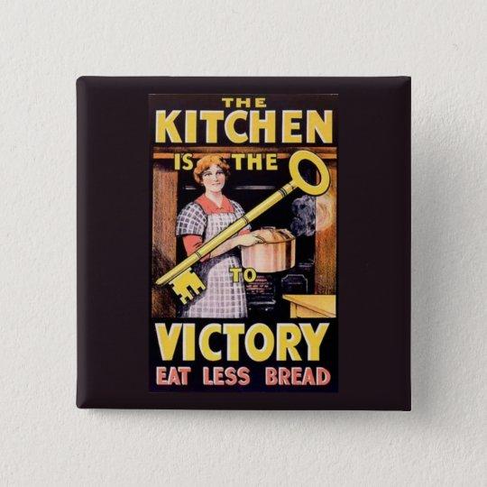 Vintage Nahrung WW1, die Küche rationiert Quadratischer Button 5,1 Cm