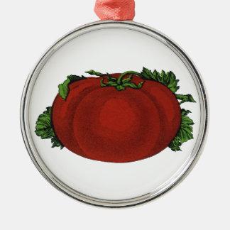 Vintage Nahrungsmittel, reife Tomate, Gemüse und Silbernes Ornament