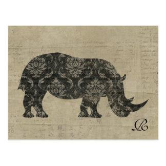 Vintage Nashorn-Silhouette-Monogramm-Postkarte Postkarte