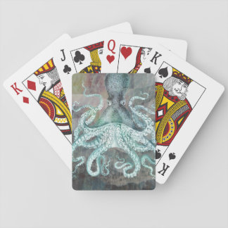 Vintage nautischkrake spielkarten