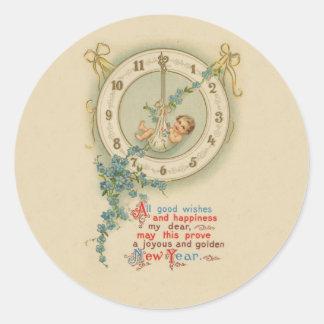 Vintage neue Jahre Babyillustrationsmalerei Runder Aufkleber
