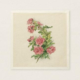 Vintage Niederlassung der rosa Rosen Papierserviette
