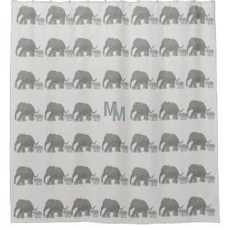 Vintage niedliche graue Elefanten mit Monogramm Duschvorhang
