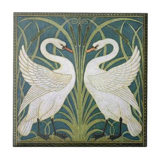 Vintage Nouveau Schwan-Keramik-Fliese Fliese