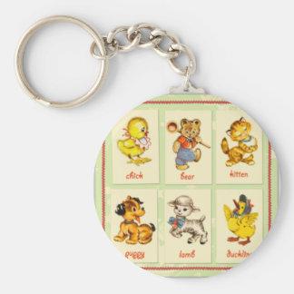 vintage nursery porte-clé rond