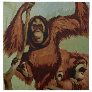 Vintage Orang-Utans auf einem Baum Serviette
