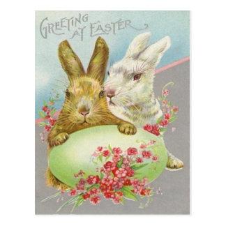 Vintage Osterhasen mit Osterei-Ostern-Karte Postkarten