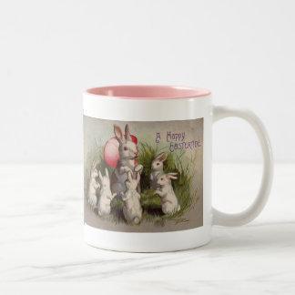 Vintage Ostern-Feiertags-Häschenkaffee-Tasse Zweifarbige Tasse