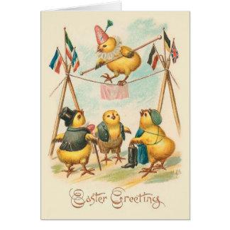 Vintage Ostern-Karte mit Zirkus-Küken Karte