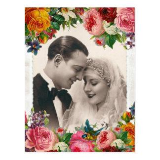 Vintage Paare in Liebe-Wedding Rosen-Postkarte Postkarte