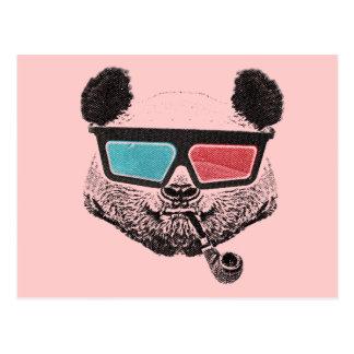Vintage Panda glasses3D Postkarte