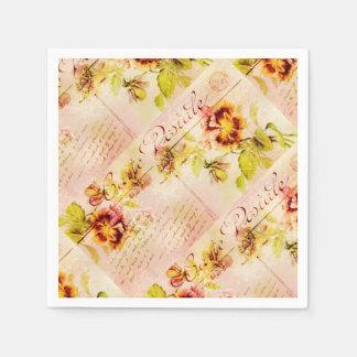 Vintage Pansy-Blumenpostkarte Servietten