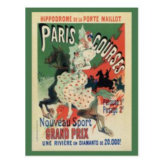 Vintage Paris-Pferderennenanzeige Postkarten