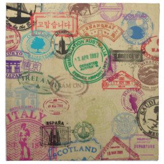 Vintage Pass-Briefmarken-Stoff-Servietten (Set von Serviette