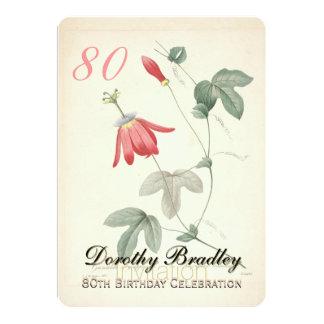Vintage Passionsblumen-80. Geburtstags-Party Karte