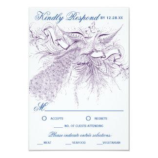 Vintage Pfau-Hochzeits-Wartekarten 8,9 X 12,7 Cm Einladungskarte