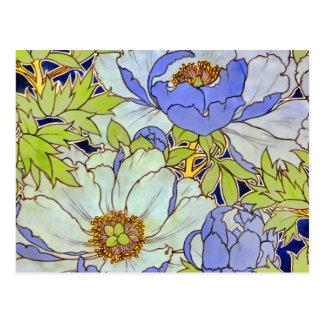Vintage Pfingstrosen-Blumen-Muster-Postkarte Postkarte