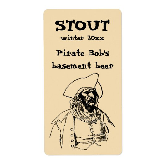Vintage Piraten, eine Buccaneer-Skizze durch Versandetiketten