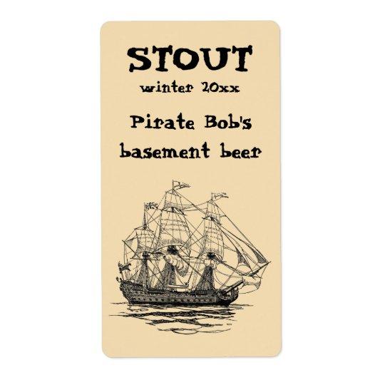 Vintage Piraten Galleon, Skizze eines Schiffs des Versandetiketten