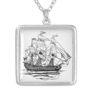 Vintage Piraten Galleon, Skizze eines Schiffs des Versilberte Kette
