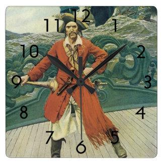 Vintage Piraten, Kapitän Keitt durch Howard Pyle Quadratische Wanduhr