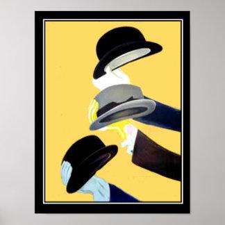 Vintage Plakat 3 des französischen Kunst-Dekos Hüt