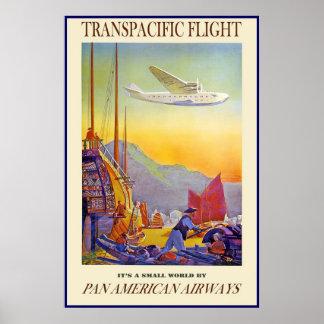 Vintage Plakat-Druck-transpazifischer Flug-Fluglin Poster
