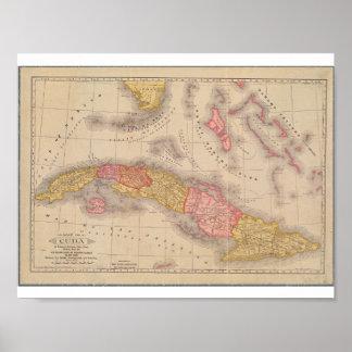 Vintage Plakat-Karte von Kuba Poster