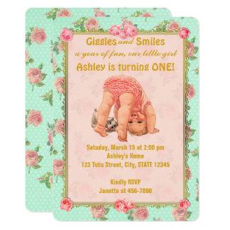 Vintage Playful Mädchen-Geburtstags-Einladungen 1. Karte