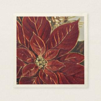Vintage Poinsettiaserviette Papierserviette