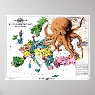 Vintage politische Cartoon-Karte von Europa (1877) Poster