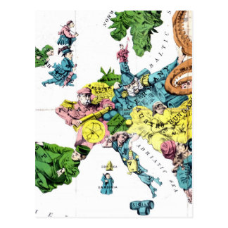 Vintage politische Cartoon-Karte von Europa (1877) Postkarte