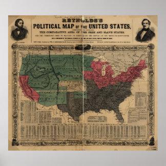 Vintage politische Karte der Vereinigten Staaten Poster