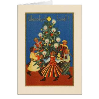 Vintage polnische Wesołych Świąt Weihnachtskarte Grußkarte
