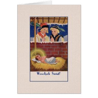 Vintage polnische Wesołyeh Świąt Weihnachtskarte Grußkarte
