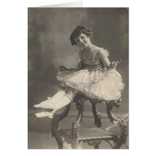 Vintage Postkarte - kleine Ballerina Grußkarte