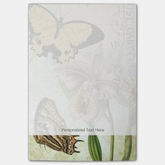Vintage Postkarte mit Schmetterlingen und Blumen Post-it Haftnotiz