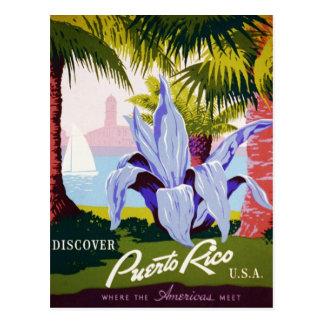 Vintage Puerto- Ricoreise - tropischer Kunst-Deko Postkarten