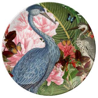 Vintage Reiher-Collagen-dekorative Porzellanteller